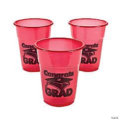 """Red """"Congrats Grad"""" Plastic Cups"""