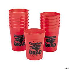 Red Congrats Grad Plastic Cups