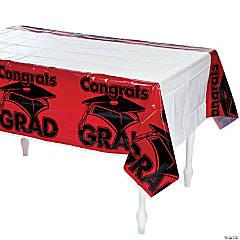 Red Congrats Grad Plastic Tablecloth