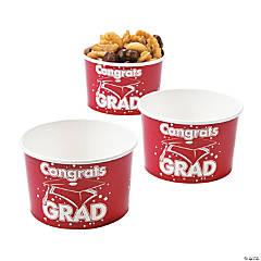 Red Congrats Grad Snack Bowls
