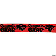 "Red ""Congrats Grad"" Streamers"