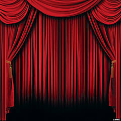 Red Curtain Backdrop Banner