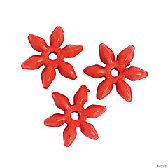 Red Daisy-Shaped Beads