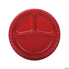 Red Divided Plastic Dinner Plates