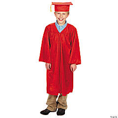 Red Elementary Graduation Cap & Gown Set