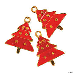 Red Enamel Christmas Tree Charms - 24mm