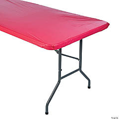 Red FItted Rectangle Plastic Tablecloth
