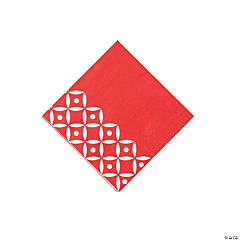 Red Geometric Beverage Napkins