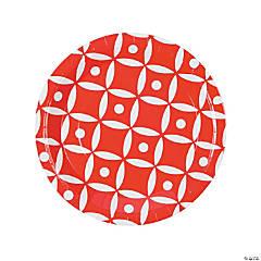 Red Geometric Dinner Paper Plates