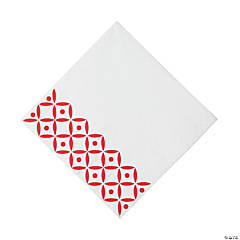 Red Geometric Luncheon Napkins