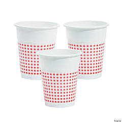 Red Gingham Plastic Cups