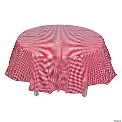 Red Gingham Round Plastic Tablecloth