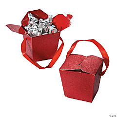 Red Glitter Take Out Boxes