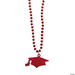 Red #1 Grad Mortar Board Bead Necklaces
