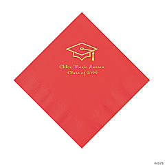 Red Grad Mortarboard Personalized Napkins with Gold Foil – Luncheon