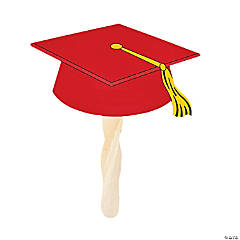 Red Graduation Cap Fans
