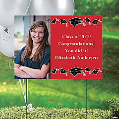 Red Graduation Custom Photo Yard Sign