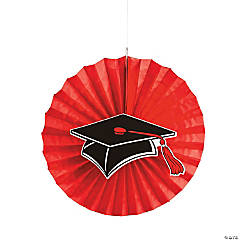 Red Graduation Hanging Fans with Icons
