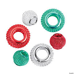 Red, Green & Silver Mesh Beads - 10mm