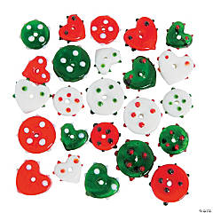 Red, Green & White Flat Funky Lampwork Beads