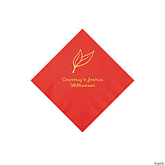Red Heart Leaf Personalized Napkins with Gold Foil - Beverage