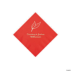 Red Heart Leaf Personalized Napkins with Silver Foil - Beverage