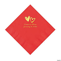 Red Hearts Personalized Napkins with Gold Foil - Luncheon