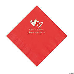 Red Hearts Personalized Napkins with Silver Foil - Luncheon