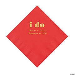 Red I Do Personalized Napkins with Gold Foil - Luncheon