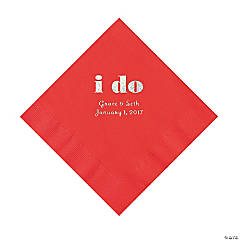 Red I Do Personalized Napkins with Silver Foil - Luncheon