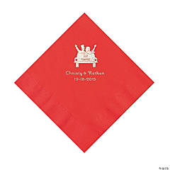 Red Just Married Personalized Napkins with Silver Foil - Luncheon