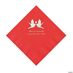 Red Love Birds Personalized Napkins - Luncheon
