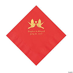 Red Love Birds Personalized Napkins with Gold Foil – Luncheon