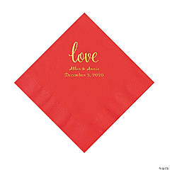 Red Love Script Personalized Napkins with Gold Foil - Luncheon