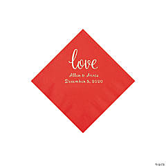 Red Love Script Personalized Napkins with Silver Foil - Beverage