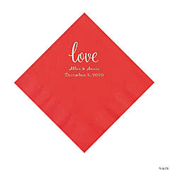 Red Love Script Personalized Napkins with Silver Foil - Luncheon