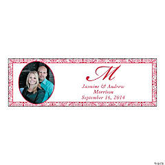 Red Medium Custom Photo Wedding Banner