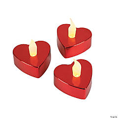 Red Metallic Heart-Shaped Battery-Operated Tea Light Candles