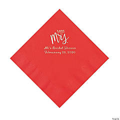 Red Miss to Mrs. Personalized Napkins with Silver Foil - Luncheon