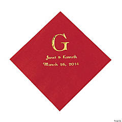 Red Monogram Personalized Napkins with Gold Foil - Luncheon
