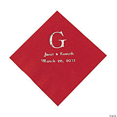 Red Monogram Personalized Napkins with Silver Foil - Luncheon