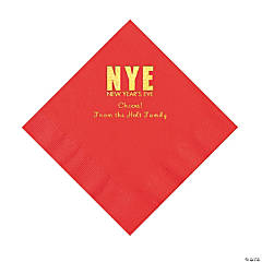 Red New Year's Eve Personalized Napkins with Gold Foil - Luncheon