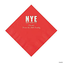 Red New Year's Eve Personalized Napkins with Silver Foil - Luncheon