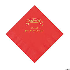 Red Oktoberfest Personalized Napkins with Gold Foil – Luncheon