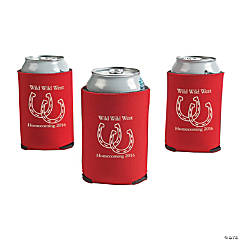 Red Personalized Horseshoe Can Coolers