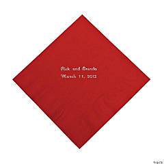Red Personalized Luncheon Napkins with Silver Print