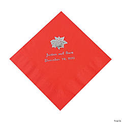 Red Personalized Poinsettia Luncheon Napkins - Silver Print