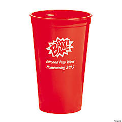 Red Personalized Superhero Plastic Tumblers