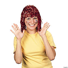 Red Pom-Pom Tinsel Wig