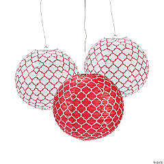 Red Quatrefoil Hanging Paper Lanterns